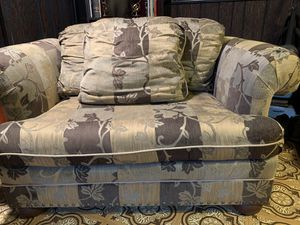 Oversized chair & ottoman. Great hammered stud detail, wooden round feet. Chair 56 W 25 D. Ottoman 35 W 25 D. $60 both for Sale in Pepper Pike, OH