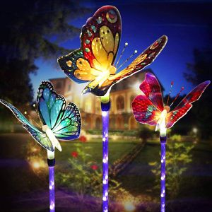 Outdoor Solar Garden Lights, Solar Stake Lights,Fiber Optic Butterfly Decorative Lights with a Purple LED Light Stake, Multi-color Changing LED Garde for Sale in Houston, TX