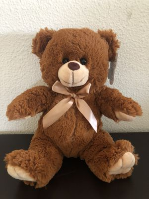 "12"" Brown Soft Teddy Bear Stuffed Animal with Satin Bow for Sale in Covina, CA"