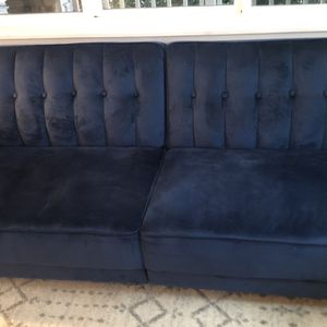 Blue Velvety Couch - Folds Down for Sale in Kirkland, WA