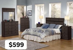 Dark Gray 5 pieces bedroom set included headboard dresser mirror and 2 night stand Mattress sold separate available for PICKUP TODAY for Sale in Chino, CA