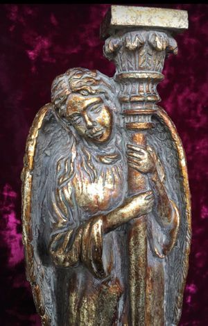 2 Angel candle holders, H13xW4.5 inch, heavy top quality composite for Sale in Chandler, AZ
