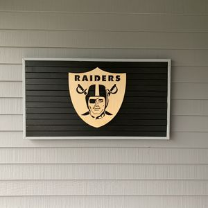 """RAIDERS Large Wood Sign / Flag 39""""x 21"""" Handcrafted in Oregon - We Build Handcrafted Wood Flags For Your Favorite Sports Team! - Makes a great gift! for Sale in Clackamas, OR"""