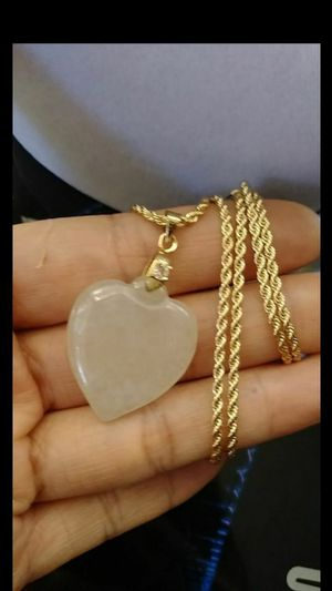 "Lucky love heart genuine icy green Burma jade jadeist pendant Italy 14k gold plated 20"" 2mm rope chain for Sale in El Sobrante, CA"