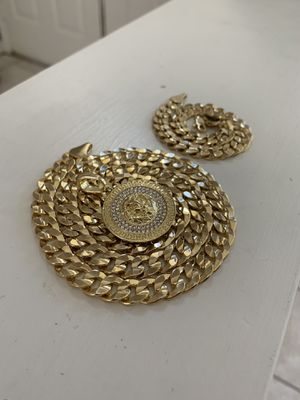 14k gold 10mm cuban set with diamond charm for Sale in Tampa, FL