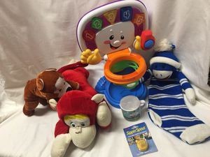 Toy Lot - Fisher Price Basketball Court, stuffed animals (monkeys), monkey sock stocking, Legoland sippy cup & sippy spout for Sale in El Mirage, AZ