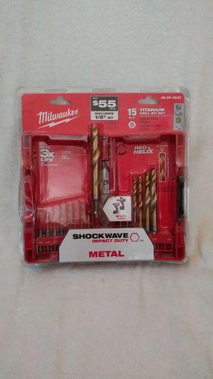 Milwaukee 15pc titanium drill bit impact metal for Sale in Colton, CA
