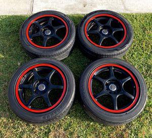 "16"" TENZO Dc-6 Version 1 Black w/ Red Stripe wheels 4 Lug Universal rims 4x100 / 4x114 jdm honda civic acura integra for Sale in Carson, CA"