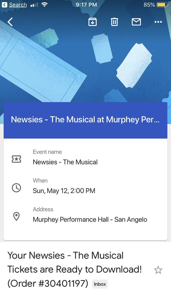 3 tickets to see the Newsies