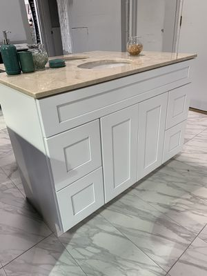 "48"" White Shaker Solid Wood Single Sink Bathroom Vanity Cabinet Marble Top for Sale in Fairfax, VA"