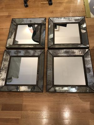 Crate & Barrel Dubois Small Square Wall Mirror - set of 4 for Sale in Boston, MA