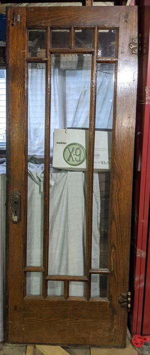 Vintage Solid Oak Door Leaded Glass for Sale in Chicago, IL