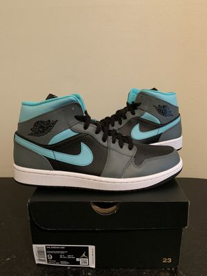 Air Jordan 1 Mid Grey Aqua Blue Black Size 9 (Pick Up) for Sale in Sunrise, FL