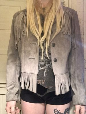 Vintage Genuine Leather grey fringe jacket for Sale in Portland, OR