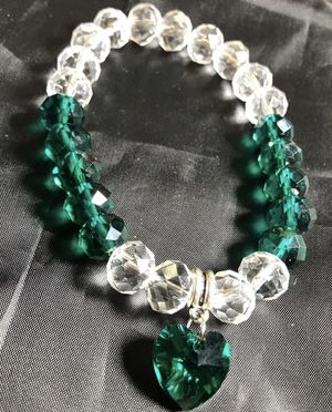 Green & silver glass bead bracelet with heart💚 for Sale in Memphis, TN