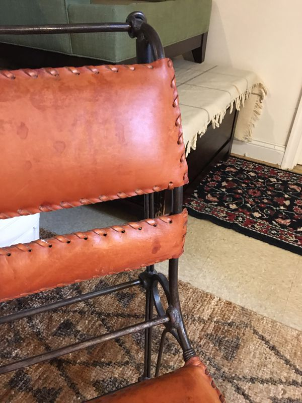 Leather Wrought Iron Chair