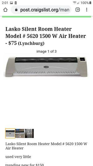 LASKO SILENT ROOM HEAT 1500 WATT for Sale in Lynchburg, VA