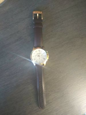 Elegant men's watch FOSSIL WATCH EXCELLENT CONDITION GENUINE LEATHER BAND STEEL WATCH HEAD...back reads ALWAYS AND FOREVER for Sale in Port Neches, TX