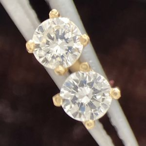 Custom Made 14K Yellow Gold Natural Diamond Screw Back Earrings for Sale in Los Angeles, CA