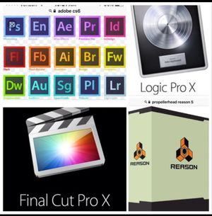 Adobe CS6, CC 2020 Master collection, Reason 5, for Mac/PC, Final Cut X, Logic Pro X 10.2, for Mac, OFFICE 2019, & more for Sale in Stockton, CA