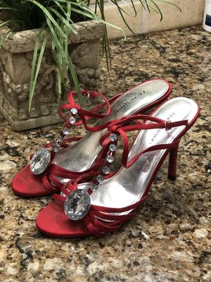 Size 7.5 Red jeweled shoes for Sale in Smyrna, TN