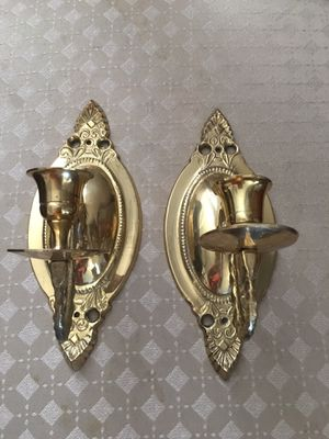 Set of 2 Solid Brass Sconce Taper Candle Holders Home Decor for Sale in Miramar, FL
