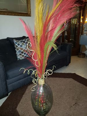 Glass Vase with long flower stems for Sale in Baltimore, MD