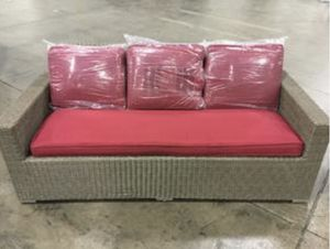 Threshold Heatherstone Wicker Patio Sofa With Red Cushions Toros Home and Garden TX for Sale in Houston, TX