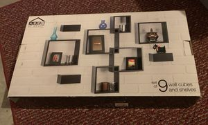 Wall mount cubes and shelves set of 9 for Sale in Hudson, NH