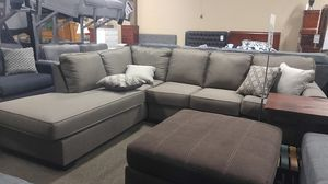 Brown fabric sectional couch with pillows for Sale in Portland, OR