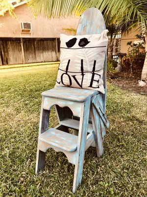 Antique ironing board chair and pillow for Sale in Corona, CA