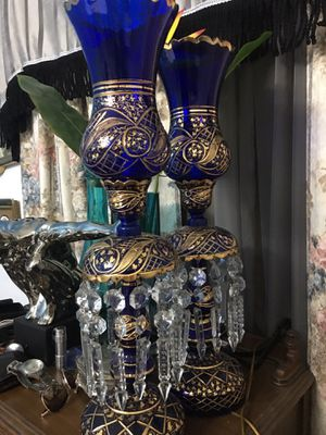 ANTIQUE SET OF TWO CHANDELIER LAMPS IN GOLD AND COBALT BLUE. GREAT CONDITION. for Sale in Miami Gardens, FL