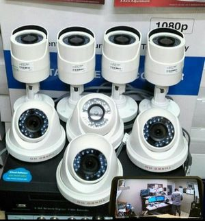 8 home security cameras with labor included-hablo espanol for Sale in Grand Prairie, TX