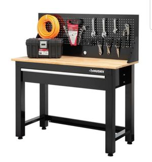 Husky 4 ft Solid Wood Top Workbench with Drawer 52x48x20 NEW in Box Retail $336.99 for Sale in Los Alamitos, CA