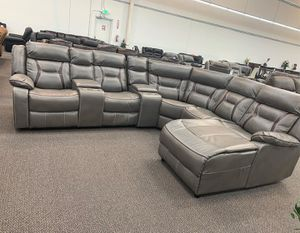 $1,599 5- PIECES RECLINING GEL LEATHERETTE GREY SECTIONAL AVAILABLE IN TWO COLORS DARK BROWN GREY DIMENSIONS LAF ARM LOVE SEAT W/ ONE RECLI for Sale in Chino, CA