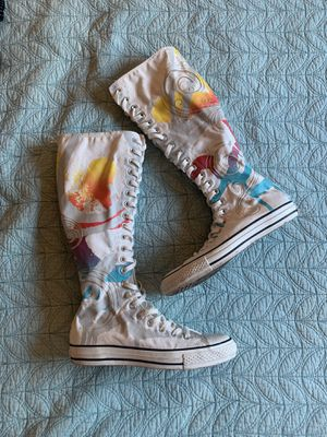 CONVERSE All Star White Paint Swirl XX High Knee Sneakers for Sale in Fort Lauderdale, FL