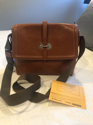 Dooney and Burke leather messenger bag. Chestnut leather with cloth crossbody strap. for Sale in MONARCH BAY, CA