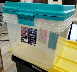 NEW Set of 3 Hefty 72 Qt Hi-Rise Secure Latch Storage Totes: njft hsewres for Sale in Burlington, NJ