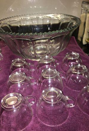 Nice Heavy Vintage punch bowl set 20 glasses 1 punch bowl for Sale in Hensley, AR
