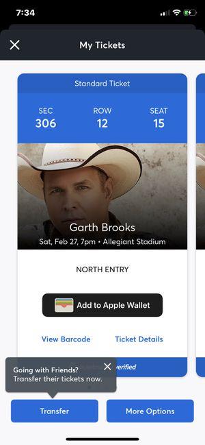 Garth Brooks New date February 27th allegiant stadium for Sale in Las Vegas, NV