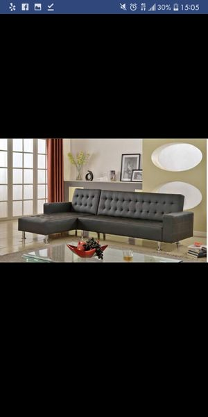 New in Box Black Futon Sectional Sofa for Sale in Austin, TX