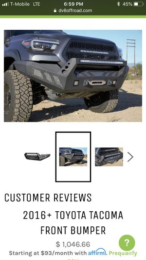 Toyota Tacoma 2016+ front and rear dv8 bumper for Sale in Chula Vista, CA