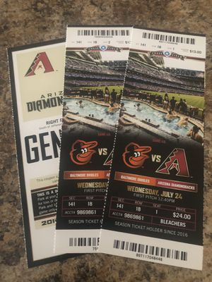 Dbacks vs Orioles tickets and parking pass for Sale in Phoenix, AZ