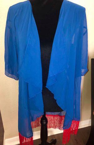 New women's Small (size 0-12) Lularoe fringe Monroe kimono, blue & red for Sale in Pinellas Park, FL