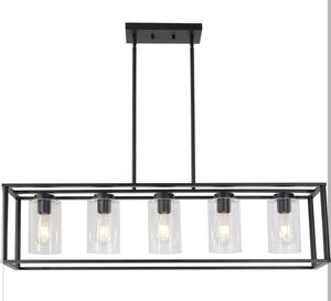 Contemporary Chandeliers Rectangle 5 Light Dining Room Lighting Fixtures Hanging, Kitchen Island Cage Farmhouse Ceiling Light with Glass Shade for Sale in Los Angeles, CA