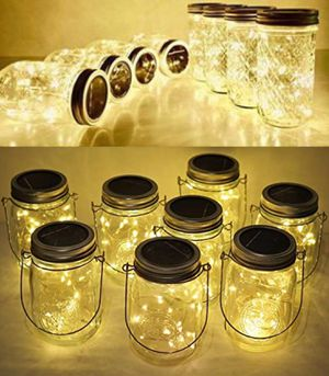 NEW 8 FOR $25 Solar 20 LED Mason Jar Landscaping Garden Party Centerpiece Wedding Decor Dinner Decoration with 3x5 Inch Jar Warm White 20 Hours Full for Sale in Los Angeles, CA