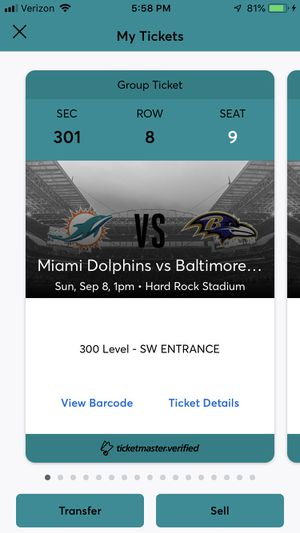 DOLPHINS VS RAVENS for Sale in Hialeah, FL