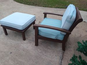 Patio chair with cushion and ottoman for Sale in Houston, TX
