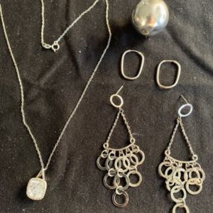 Silver .925 Set Of Necklace With 2 Pendants And 2 Pairs Of Earrings for Sale in Hollywood, FL