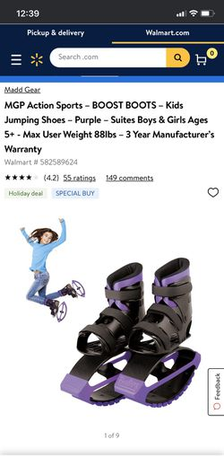 MGP Action Sports – BOOST BOOTS – Kids Jumping Shoes – Purple – Suites Boys & Girls Ages 5+ for Sale in Alexandria,  VA